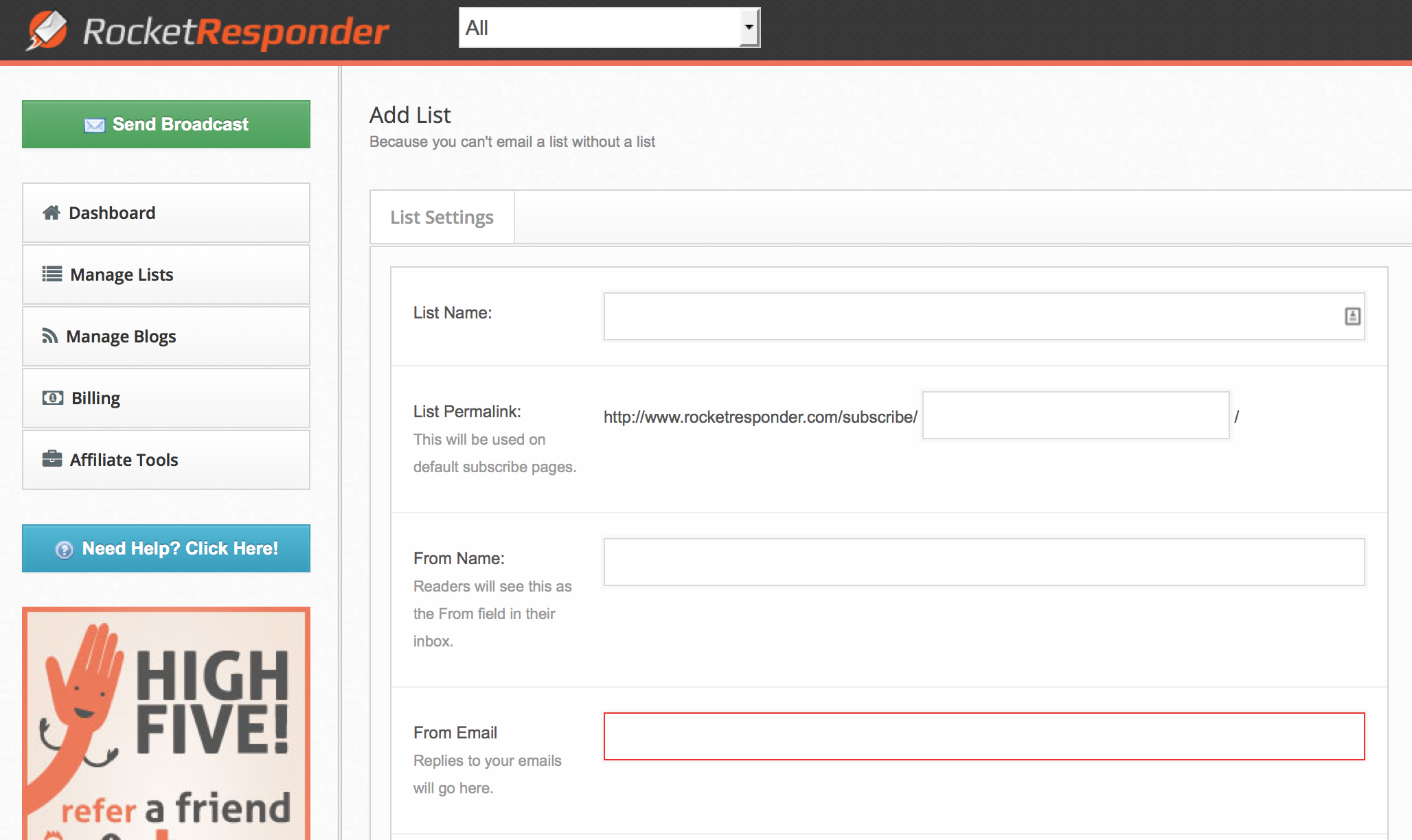 adding a new list with RocketResponder